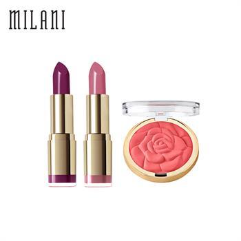 集美优彩妆 milani口红21、42号+玫瑰花腮红05号组合套装
