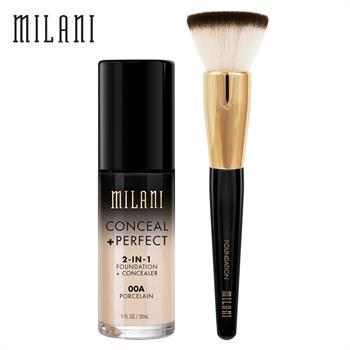 集美优彩妆 milani完美遮瑕粉底液+粉底刷
