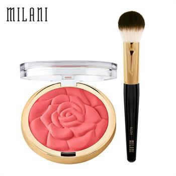 集美优彩妆 milani浮雕玫瑰花瓣腮红+腮红刷